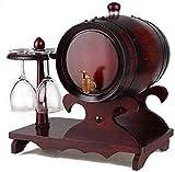 JLDN Barril de Vino, Barril de Madera de Roble Envejecimiento Barril con Grifo con Filtro Kit elaboración del Vino for su Almacenamiento o envejecimiento del Vino,B_3L