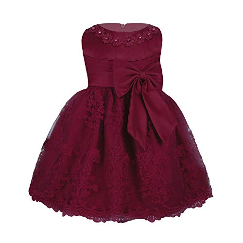 TiaoBug Baby Mädchen Kleid Prinzessin Hochzeit Taufkleid Blumenmädchen Festlich Kleid Kleinkind Festzug Kleidung Weinrot Modell 3 74-80