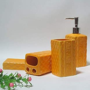 ZXY Soap Dispenser Hotel Bathroom Bathtub Accessory 4 Piece Set Creative Vintage Ceramic Soap Dish Toothbrush Holder Lotion bottle Collection,A1