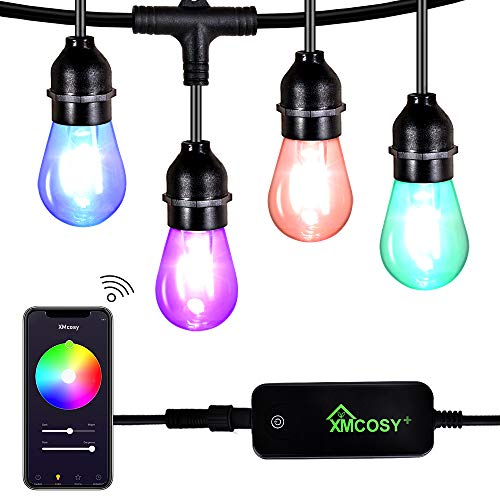 Outdoor String Lights - Color Changing String Lights with 15 LED Bulbs, Controlled by Phone App, Waterproof/Shatterproof, 49ft Length, Extendable. Color Wheel & Custom Scene for Various Occasions