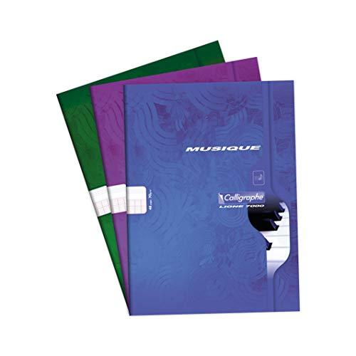 Calligraphe 564C - Un cahier piqué de musique & chant (gamme 7000 de Clairefontaine) 48 pages 21x29,7 cm70g grands carreaux + 10 portées, couverture carte offset couleur aléatoire