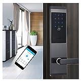 XIAOKUKU Porta Principale Smart Block, Wi-Fi Bluetooth Digital Password Blocco con Manico, Security Door Block Touch Screen Supporta Gestione remota, per Appartamento/Famiglia,A,Left