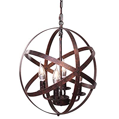"""Lika 4-Light Chandeliers 15.7"""" Farmhouse Rustic Industrial Pendant Lighting with Metal Spherical Shade Black Chandelier for Dining Room, Kitchen, Foyer… (Bronze)"""