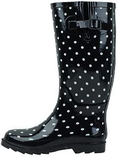 Sunville New Brand Women's Rubber Rain Boots,10 M US,Black Polka Dot