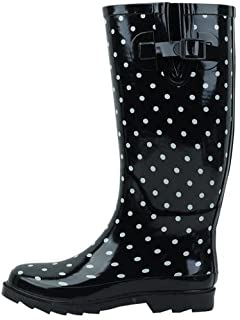 Sunville New Brand Women's Rubber Rain Boots,10 M US,Black Polka Dot