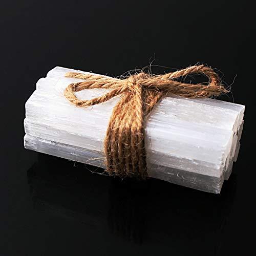 NPIL Punto de Piedra curativo 10pcs Blanco Natural selenita Crystal palillo de Chips de Yeso en Bruto Cuarzo Minerales de muestras Decoraciones (Color : A)
