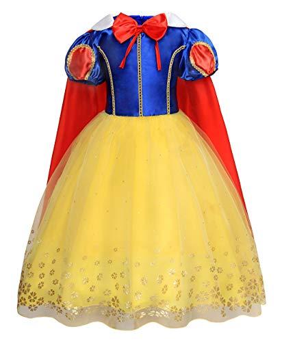 AmzBarley Disfraz Vestido Princesa Blancanieves Niña Tutu Ceremonia,Traje Niña,Disfraz Infantil Fiesta Carnaval Cosplay Halloween 7-8 Años