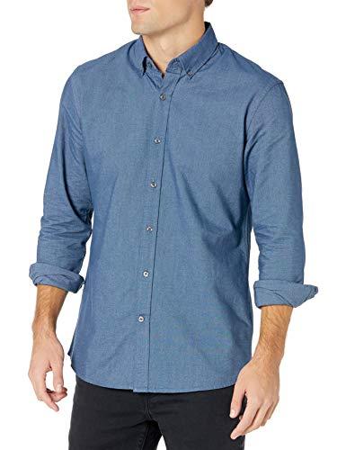 Goodthreads Regular-Fit Long-Sleeve Solid Oxford Shirt Camicia, Blu (Indigo), Small