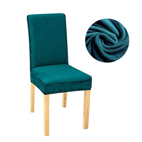 Zxxin-Stuhlhussen Samt Stretch Dining Slipcovers Feste Farbe Spandex-Plüsch-Stuhlabdeckungen Protector, für Heim-Esszimmer, hohe Qualität (Color : Dark Green, Specification : Universal)