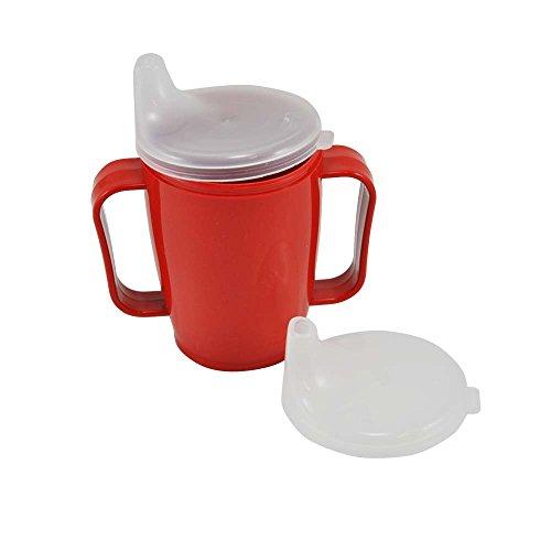 Schnabelbecher, tasse, Trinktasse mit Griff + 2 Deckel 4+12 mm, 250ml, rot