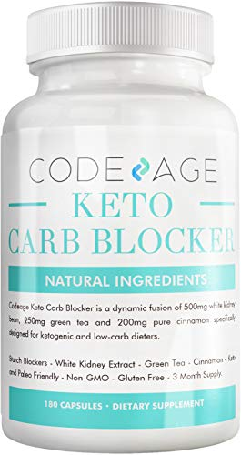 Codeage Keto Carb Blocker (Extra Strength) - White Kidney Bean Extract Carb Blocker + Green Tea Extract + Pure Cinnamon Bark for Keto Cheat Carb Intercept + Sugar Blocker - 180 Capsules