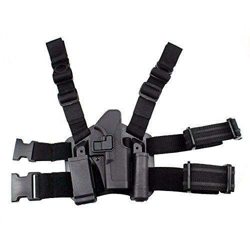 JINJULI Tactical Right Hand Paddle Leg Belt Thigh Hard Drop Holster for Glock 17 19 22 23 31
