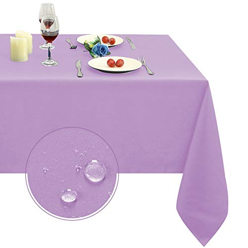 Obstal 210GSM Rectangle Table Cloth - Heavy Duty Water Resistance Microfiber Tablecloth, Decorative Fabric Table Cover for Outdoor and Indoor Use (Lavender, 60 x 120 Inch)