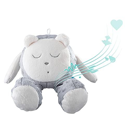 myHummy avec capteur Ourson Snoozy Gris Blanc Premium | Peluche Bruit Blanc bébé | Machine à Bruit Blanc - Battement Coeur Bruit des Vagues | My hummy avec capteur de Sommeil Peluche endormissement