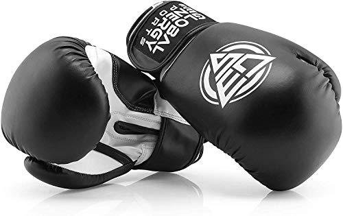Global Energy Sports Boxhandschuhe aus Kunstleder in Allen Größen (Unzen oz) schwarz und passendem Sportbeutel für das Training