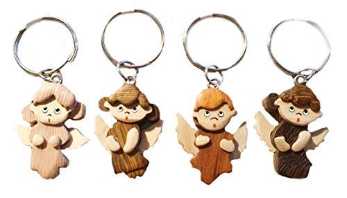 Kleine houten engel beschermengel sleutelhanger | geluk | bescherming | gezondheid | hemel | god | geschenk | natuurlijk hout