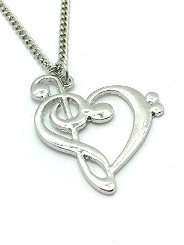 Collar con clave de sol y de fa formando juntas un corazón