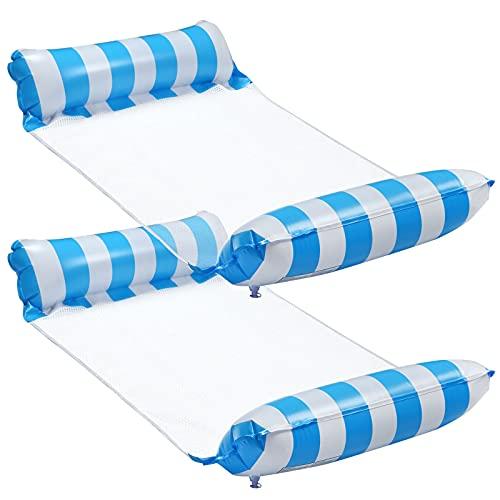 LEMESO 2 Piezas Camas Flotante Inflable de Hamaca Inflable de Agua Flotantes - 70 x 120cm Colchoneta Piscina Sillas Flotantes para Fiestas Verano (Rayas Azules y Blancas)