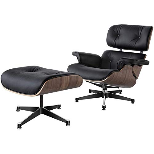 CN Cover Mid Century Classic Lounge Chair, Leather Recliner with Ottoman with Genuine Leather And Heavy Duty Aluminum Base Modern Chaise for Bedroom Living Room Lounge Office