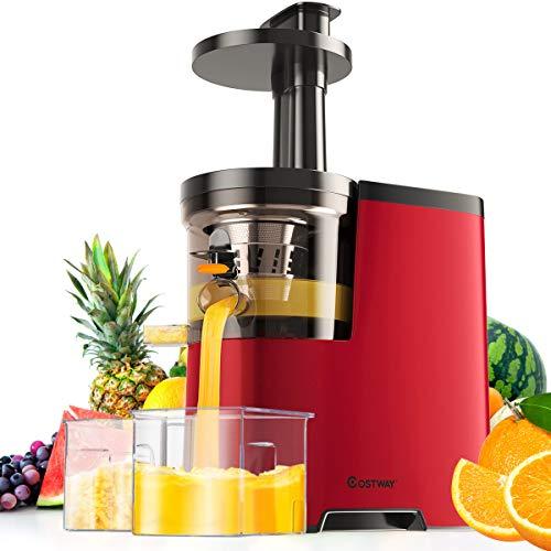 COSTWAY Entsafter Elektrische Saftpresse, Slow Juicer, Fruitpresso Kältepresse/Umkehrfunktion/inkl. Reinigungsbürste & 500ml Wassertank/für Gemüse und Obst / 150W / Edelstahl (Rot)