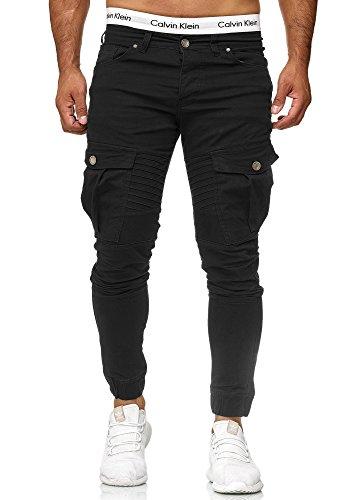 Code47 Herren Chino Jogg Jogger Jeans Slim Fit Cargo Stretch W29-W38 (W28 L32, Schwarz)