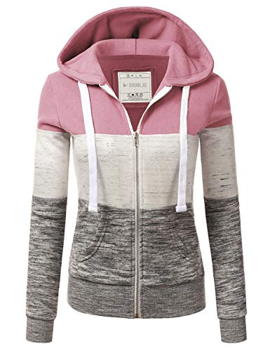 Doublju Lightweight Thin Zip-Up Hoodie Jacket for Women with Plus Size Begoniapink 1X