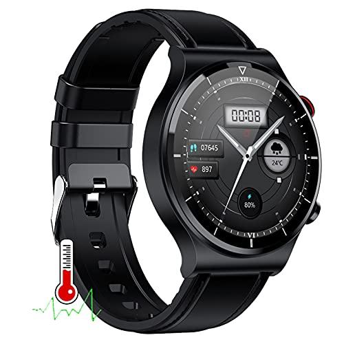 BNMY Reloj Inteligente con Medición De La Temperatura Corporal, Monitor De Fitness, con Frecuencia Cardíaca, Monitor De Sueño, Calorías, Podómetro, Reloj Deportivo para iOS Y Android,C