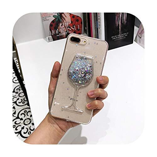 Funda transparente para iPhone 11 Pro Max X XS MAX XR 6 6S 7 8 Plus con purpurina 3D para copas de vino tinto