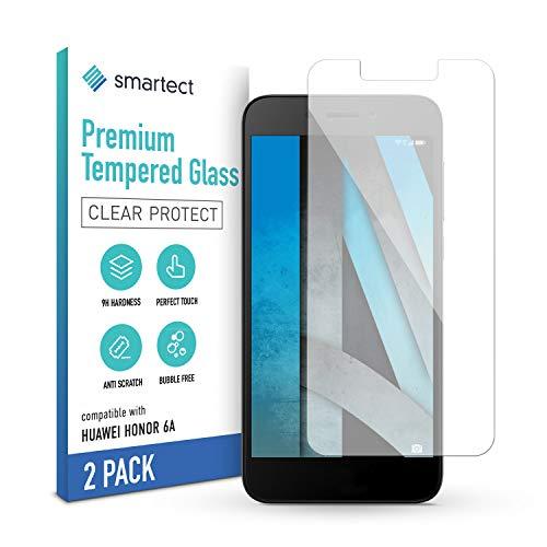 smartect Panzerglas kompatibel mit Huawei Honor 6A [2 Stück] - Tempered Glass mit 9H Festigkeit - Blasenfreie Schutzfolie - Anti Fingerprint Panzerglasfolie