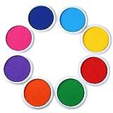 Boju 水性スタンプ台 カラー 朱肉手形スタンプ 8色セット インクパッド フィンガースタンプ 赤ちゃん 手形 足形 DIY 手帳 年賀状