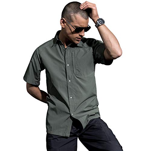 FREE SOLDIER Men's Shirts Outdoor Nylon Breathable Quick-Drying Short Sleeve Tactical Shirt (Gray, L)