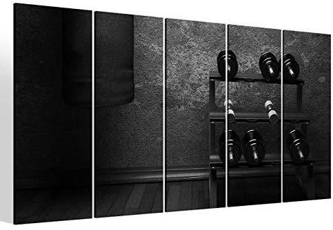Leinwandbilder 5 teilig XXL 200x100cm schwarz weiß Fitness Hanteln Boxsack Sport Kat8 retro Druck auf Leinwand Bild 9BM2208