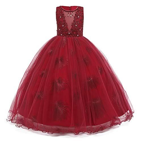 LZH Vestido de Niñas Cordón Princesa Vestidos de Novia Falda Larga para...