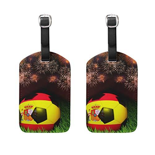 WINCAN Etiquetas de Equipaje (variadas,2PK),Balón de fútbol patrón de Bandera de España en,Etiqueta de Equipaje para Equipaje,Mochilas Etiquetas de Maleta