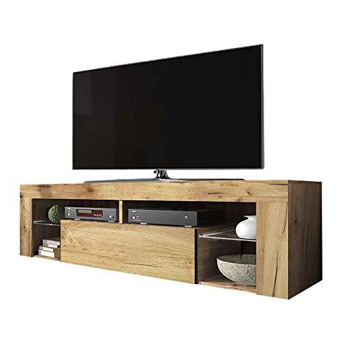 Selsey BIANKO - Mueble TV Moderno/Mesa TV/Mueble para Salón / 140 cm (sin LED, Roble Dorado)