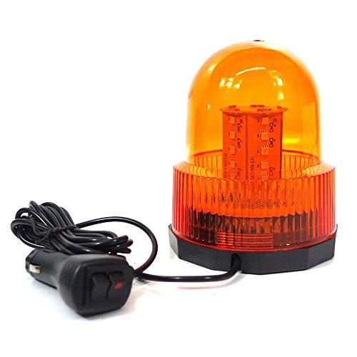Xprite Super Bright Amber/Yellow Rotating Revolving LED Beacon Strobe Lightwith Magnetic Mount, 60LEDs 15W Emergency Warning Caution Flashing Light for Snow Plow Truck UTV 12v Vehicle