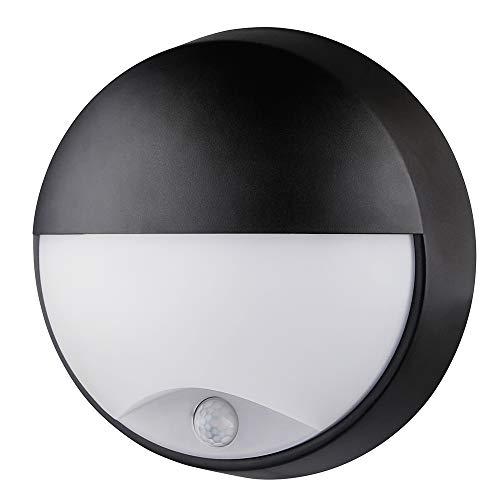 Lampe de cloison LED Demi-cercle Plafonnier Applique Éclairage Luminaire avec Détecteur de Mouvement, 10W 4000K 400LM IP54, Pour l'Intérieur et l'Extérieur - Noir