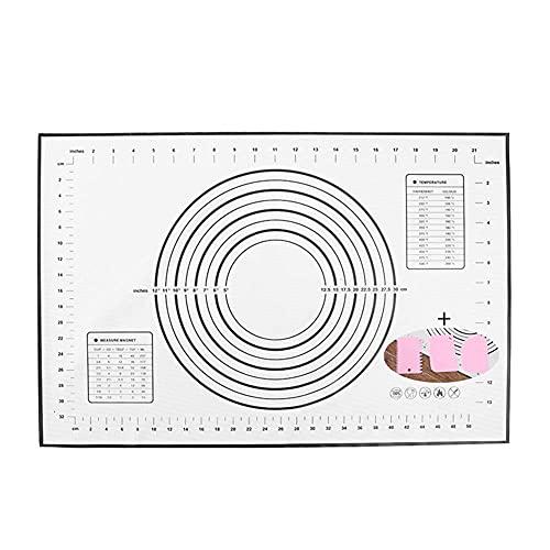 BaoWnylz Backmatte Groß Teigmatte 60x40cm, Silikonmatte Baking Mat rutschfeste, Antihaftbeschichtete Backunterlage mit Messung,für Fondant Gebäck Pizza, BPA Frei(Schwarz+3 Pcs Schaber)