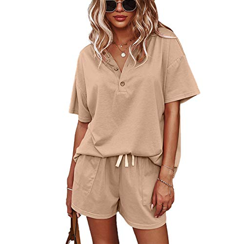 Casual Short Sleeve Sweatsuit Sets: Loose Fit Lounge Outfit Set Summer Tracksuit Outfits for Women 2 Piece with Pockets