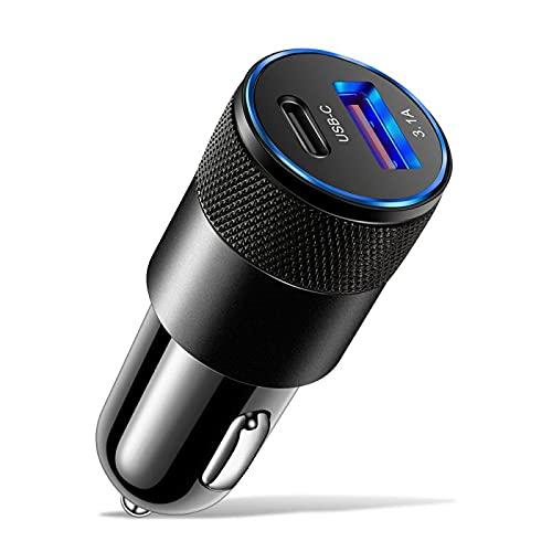 Lingling PETER LI 15 W USB cargador inalámbrico de coche PD aleación de aluminio encendedor adaptador 3.1 A cargador USB rápido para iPhone Xiaomi Samsung (nombre del color: negro)