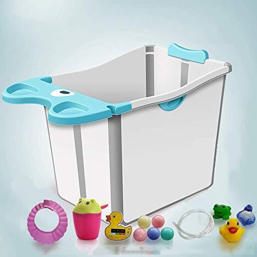 HJJ Baby bath tub/Inflatable Bathtub Children's Bath Barrel Collapsible Baby Bath Barrel Bath Can Sit Lie Bath Tub Baby Folding Bathtub a+ /Children's folding bathtub (Color : Blue)