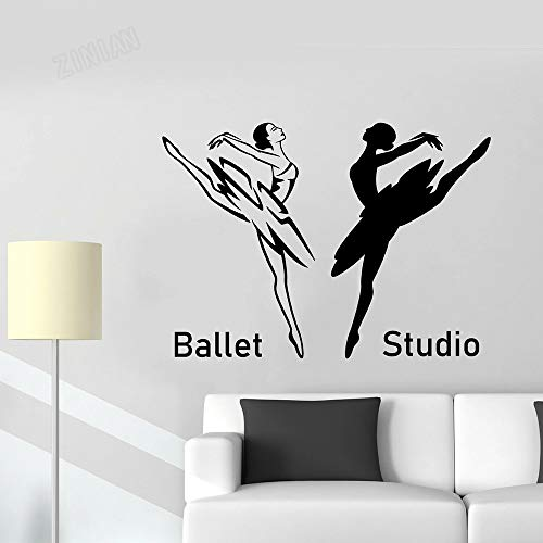 Ballet Studio Logo pared pegatina bailarina Pointe Dancer vinilo pared calcomanía baile