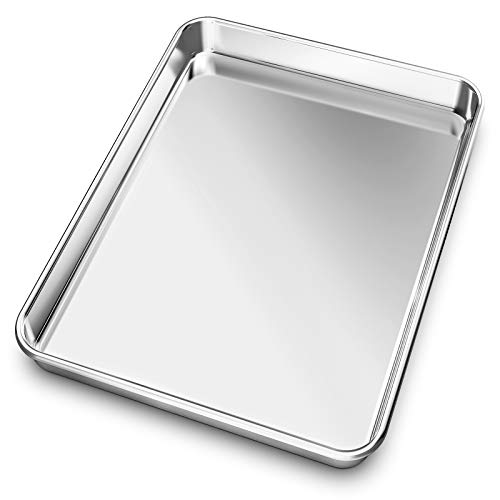 Baking Sheet, Yododo Stainless Steel Baking Pans Tray Cookie Sheet Toaster Oven Tray Pan Cookie Pan, Non Toxic & Healthy, Superior Mirror Finish & Rust Free, Easy Clean & Dishwasher Safe - 10 inch