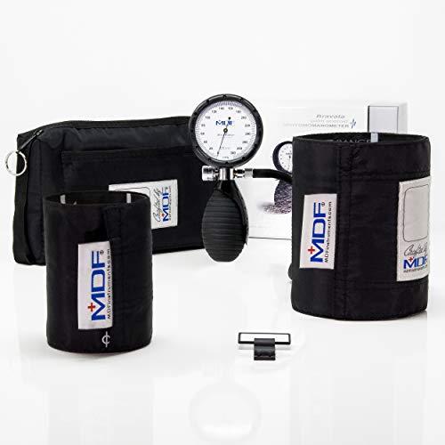 MDF® Bravata® Palm Esfigmomanómetro aneroide - Monitor profesional de presión arterial (adulto y pediátric) - Negro - Garantía de por vida & Programa piezas gratuitas de por vida (MDF848XPD-11)