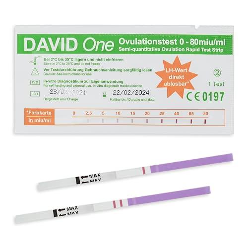 David One 30x Ovulationstest - Teststreifen zur Babyplanung - Frauen Fruchtbarkeitstest - Kinderwunsch Teststäbchen - Ovulation test - 0-80 miu/ml LH