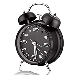 Analog Alarm Clock, Twin Bell Silent Non Ticking Clock with Night Light, Battery Operated, Super Loud Table Alarm Clock for Heavy Sleepers, Bedroom, Bedside, Desk (Black)