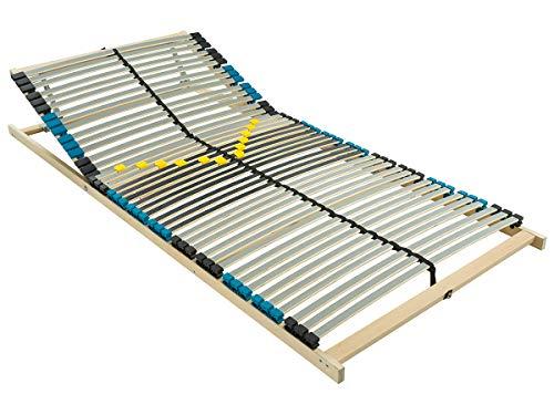 BMM Lattenrost Premium K 7 Zonen mit 42 Federholzleisten, geräuschlose Duo HQ-Kappen, holmübergreifende Latten, mit Kopfteilverstellung, 100x200 cm