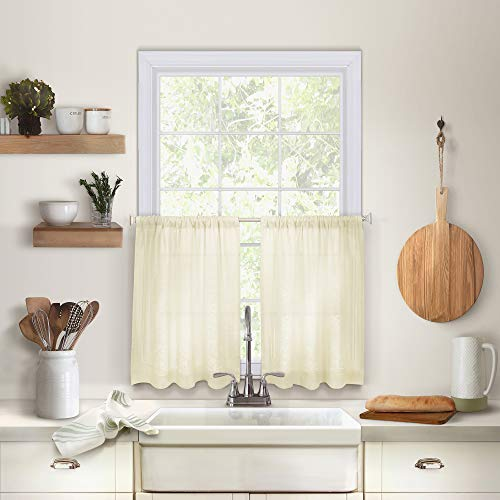 Elrene Home Fashions Cameron Solid Hemstitched Rod Pocket Cafe/Kitchen Tier Window Curtain, 30' W x 36' L Each (Set of 2, Ivory, 2 Count