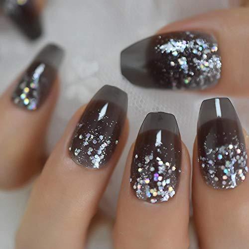 Rpbll Coffin Medium Glitter Nails Coal Black Silver Powder Translucent Shiny Fake Nails Pre-Designed Fashion Style Finger Nails-L5229