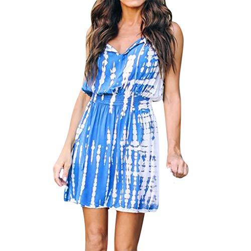 Sonojie Damen Summer Fashion Strap V-Ausschnitt Unregelmäßiges Print Bandage Kleid